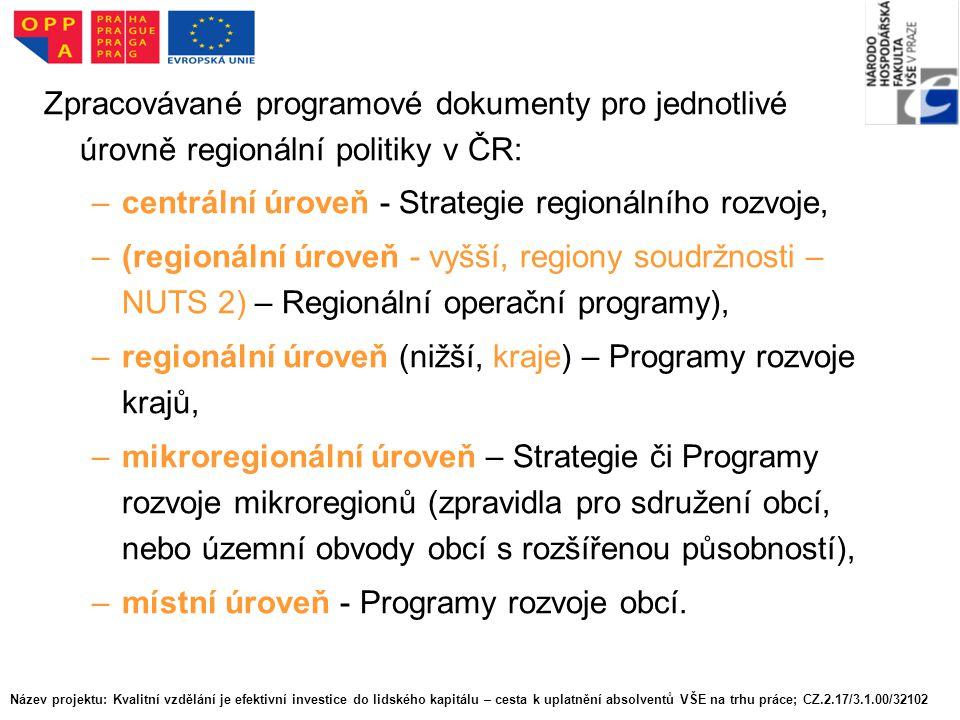 Zpracovávané programové dokumenty pro jednotlivé úrovně regionální politiky v ČR: –centrální úroveň - Strategie regionálního rozvoje, –(regionální úroveň - vyšší, regiony soudržnosti – NUTS 2) – Regionální operační programy), –regionální úroveň (nižší, kraje) – Programy rozvoje krajů, –mikroregionální úroveň – Strategie či Programy rozvoje mikroregionů (zpravidla pro sdružení obcí, nebo územní obvody obcí s rozšířenou působností), –místní úroveň - Programy rozvoje obcí.