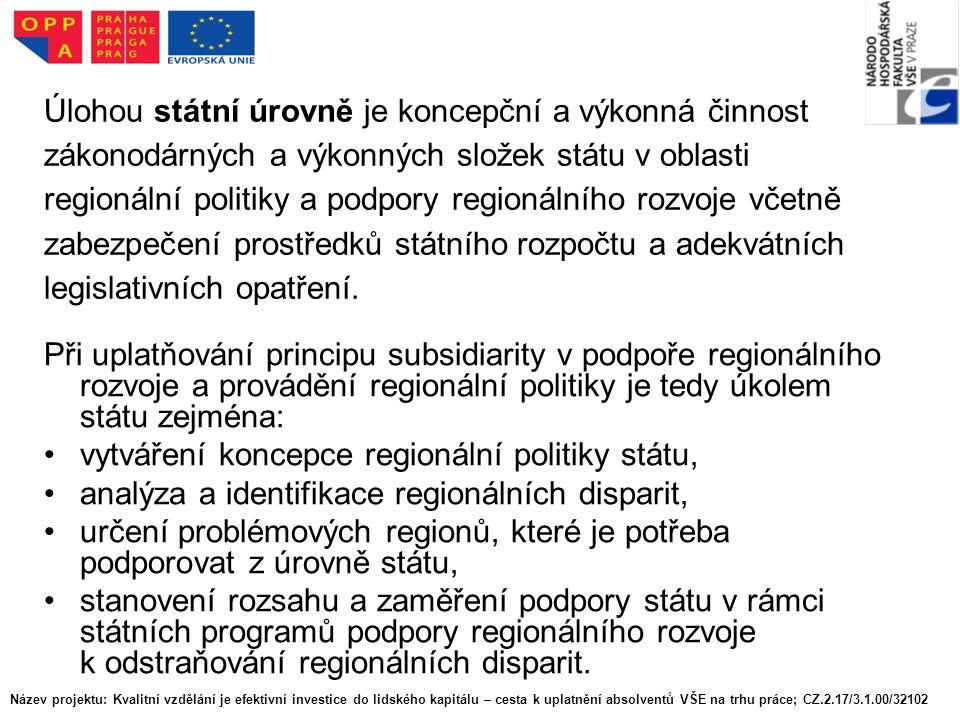 Úloha regionů soudržnosti: Pro potřeby spojené s koordinací a realizací hospodářské a sociální soudržnosti, spočívající zejména ve využívání finančních prostředků ze strukturálních fondů Evropských společenství, byly zřízeny regiony, jejichž územní vymezení je totožné s územními statistickými jednotkami NUTS 2, tzv.
