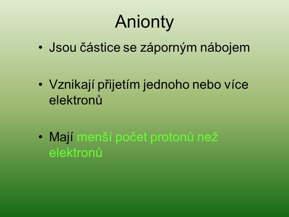 Anionty Jsou částice se záporným nábojem Vznikají přijetím jednoho nebo více elektronů Mají menší počet protonů než elektronů