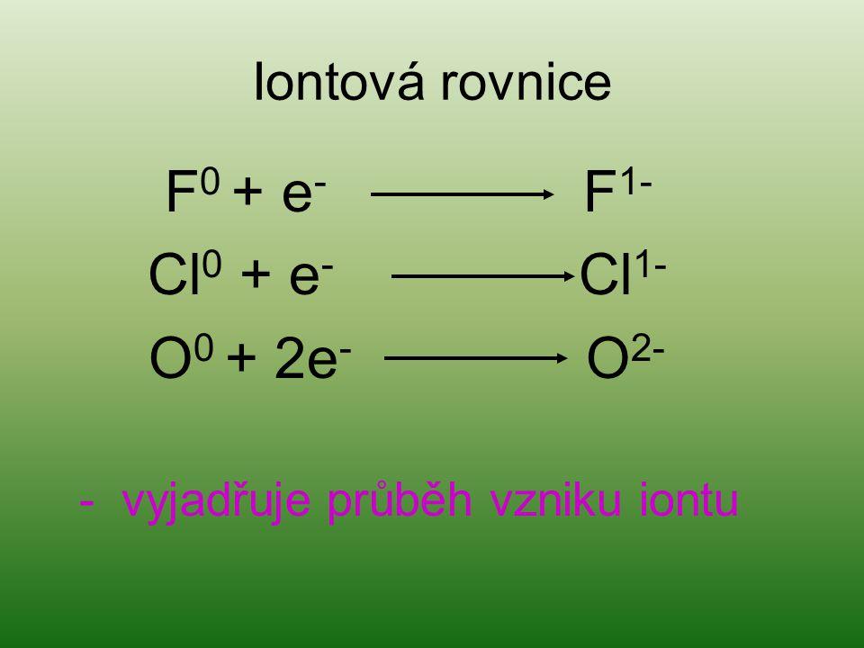 Iontová rovnice F 0 + e - F 1- Cl 0 + e - Cl 1- O 0 + 2e - O 2- - vyjadřuje průběh vzniku iontu