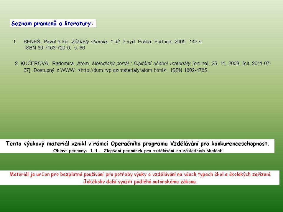 1.BENEŠ, Pavel a kol. Základy chemie. 1.díl. 3.vyd. Praha: Fortuna, 2005. 143 s. ISBN 80-7168-720-0, s. 66 2. KUČEROVÁ, Radomíra. Atom. Metodický port