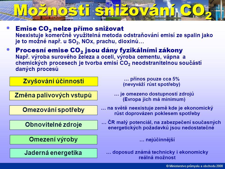 Možnosti snižování CO 2 Emise CO 2 nelze přímo snižovat Neexistuje komerčně využitelná metoda odstraňování emisí ze spalin jako je to možné např. u SO