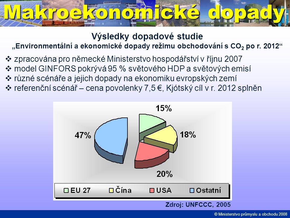 """Makroekonomické dopady Výsledky dopadové studie """"Environmentální a ekonomické dopady režimu obchodování s CO 2 po r. 2012""""  zpracována pro německé Mi"""