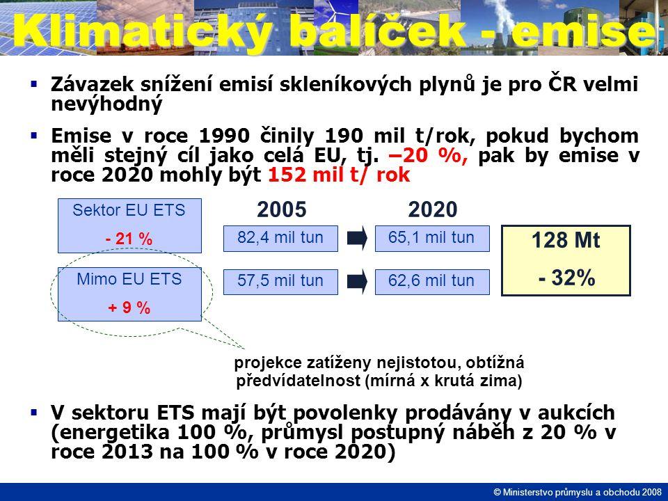  Závazek snížení emisí skleníkových plynů je pro ČR velmi nevýhodný  Emise v roce 1990 činily 190 mil t/rok, pokud bychom měli stejný cíl jako celá