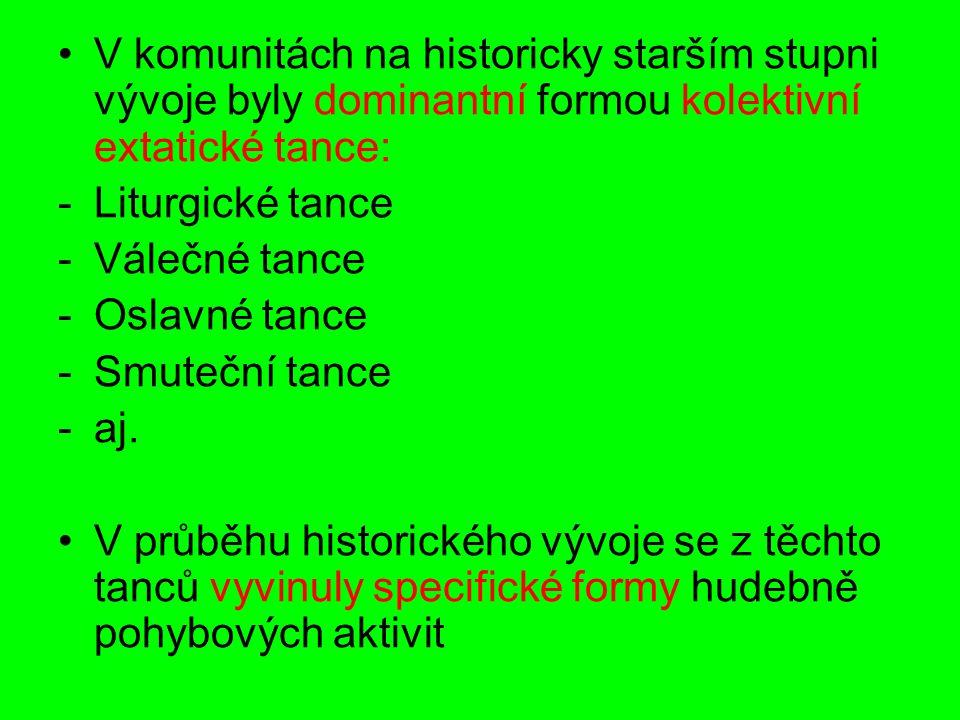 V komunitách na historicky starším stupni vývoje byly dominantní formou kolektivní extatické tance: -Liturgické tance -Válečné tance -Oslavné tance -Smuteční tance -aj.