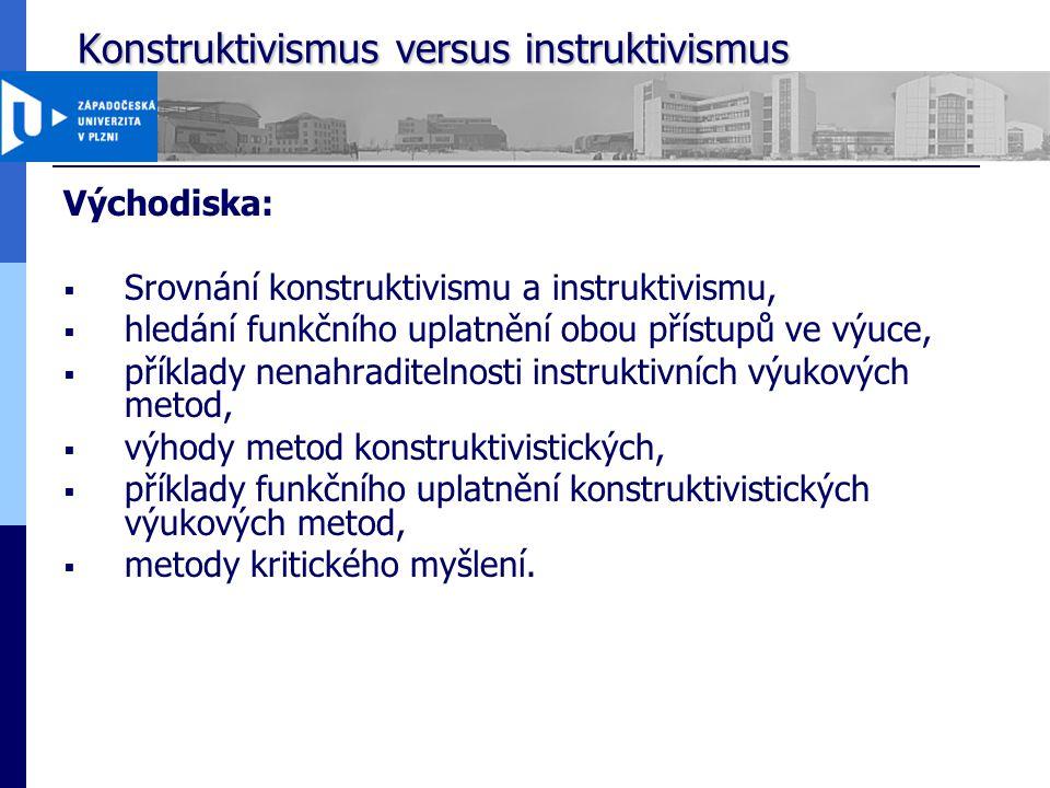Konstruktivismus versus instruktivismus Konstruktivismus versus instruktivismus Východiska:  Srovnání konstruktivismu a instruktivismu,  hledání fun