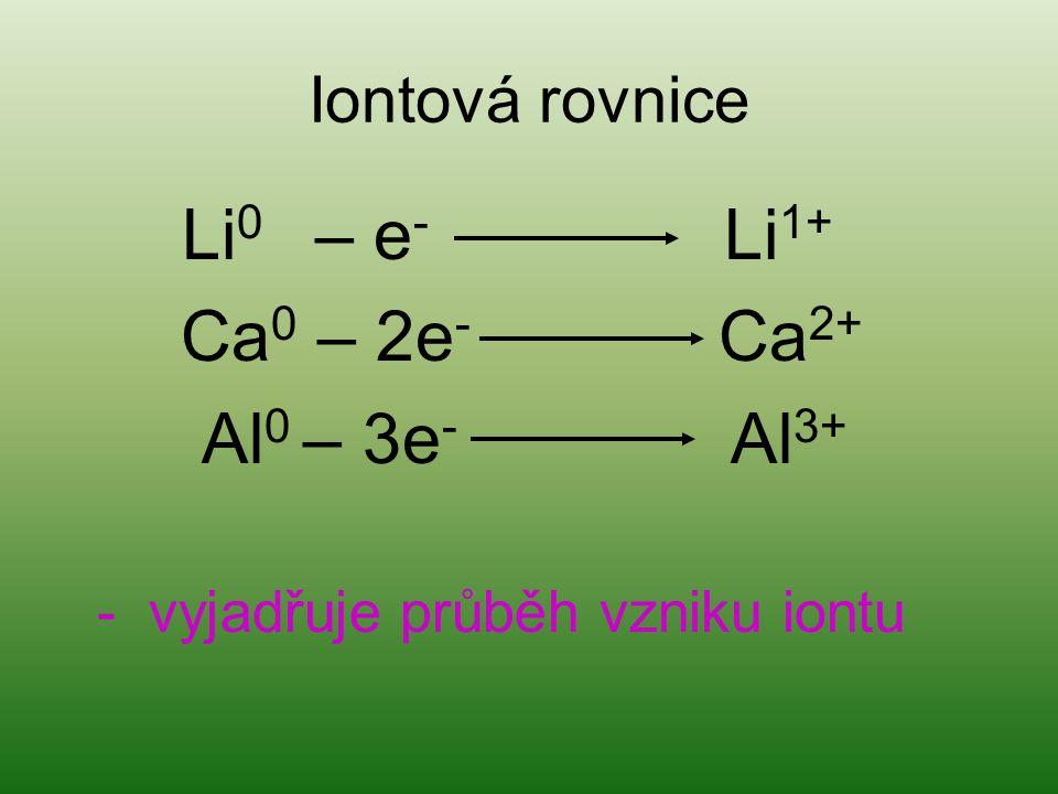 Iontová rovnice Li 0 – e - Li 1+ Ca 0 – 2e - Ca 2+ Al 0 – 3e - Al 3+ - vyjadřuje průběh vzniku iontu