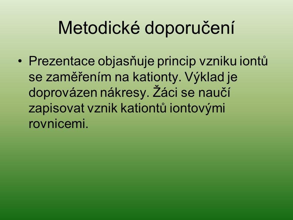 Metodické doporučení Prezentace objasňuje princip vzniku iontů se zaměřením na kationty.
