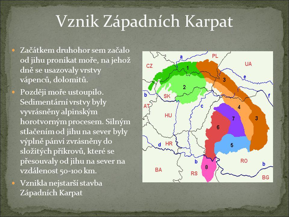 Vznik Západních Karpat Začátkem druhohor sem začalo od jihu pronikat moře, na jehož dně se usazovaly vrstvy vápenců, dolomitů. Později moře ustoupilo.