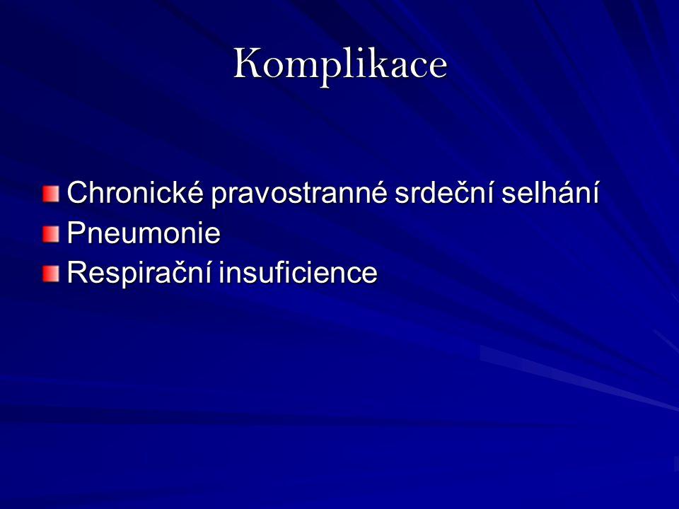 Komplikace Chronické pravostranné srdeční selhání Pneumonie Respirační insuficience