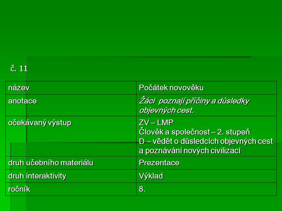 č. 11 název Počátek novověku anotace Žáci poznají příčiny a důsledky objevných cest. očekávaný výstup ZV – LMP Člověk a společnost – 2. stupeň D – věd