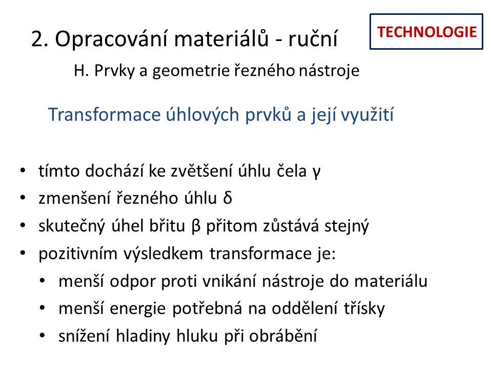 TECHNOLOGIE 2. Opracování materiálů - ruční H. Prvky a geometrie řezného nástroje Transformace úhlových prvků a její využití tímto dochází ke zvětšení