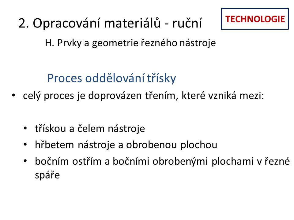 TECHNOLOGIE 2. Opracování materiálů - ruční H. Prvky a geometrie řezného nástroje Proces oddělování třísky celý proces je doprovázen třením, které vzn