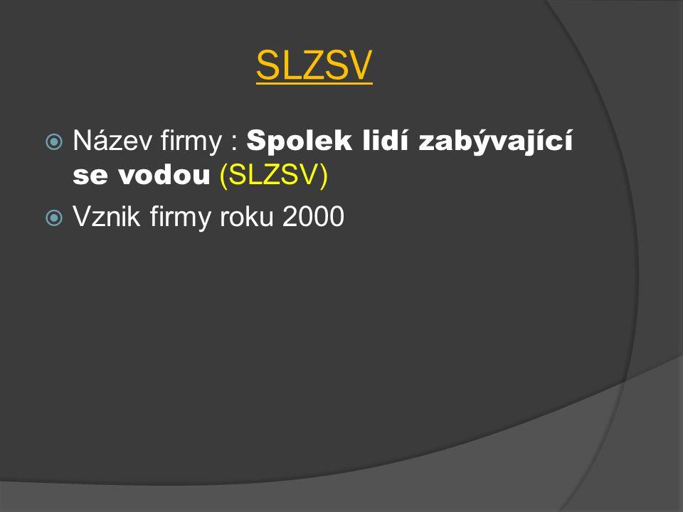 SLZSV  Název firmy : Spolek lidí zabývající se vodou (SLZSV)  Vznik firmy roku 2000