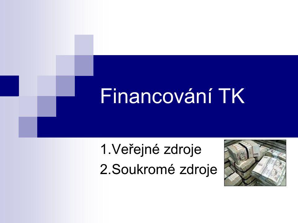Financování TK 1.Veřejné zdroje 2.Soukromé zdroje