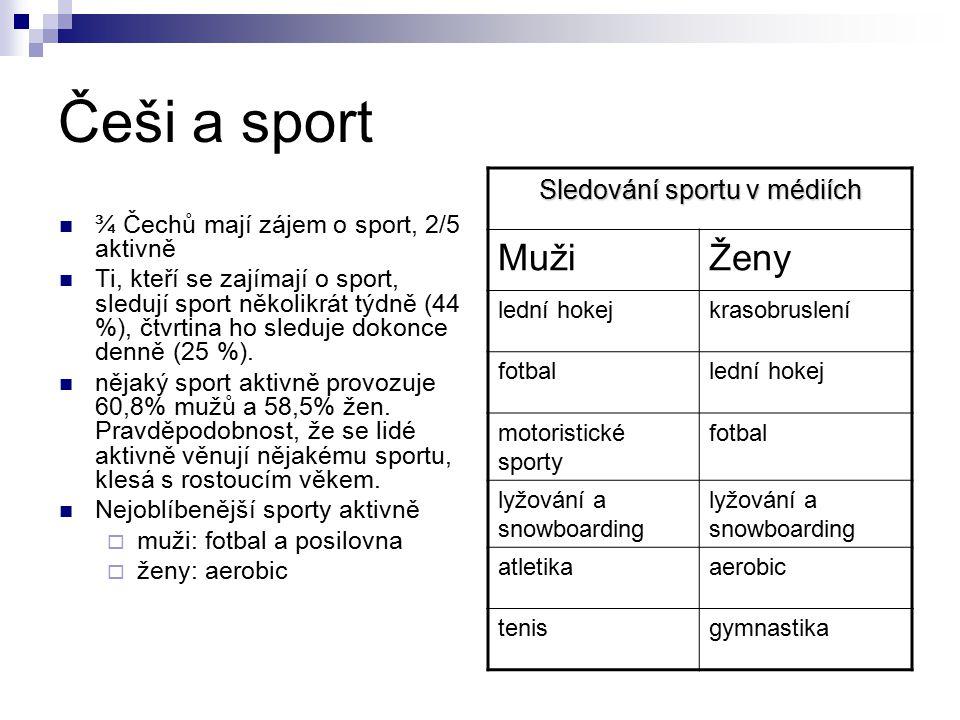 Češi a sport ¾ Čechů mají zájem o sport, 2/5 aktivně Ti, kteří se zajímají o sport, sledují sport několikrát týdně (44 %), čtvrtina ho sleduje dokonce denně (25 %).