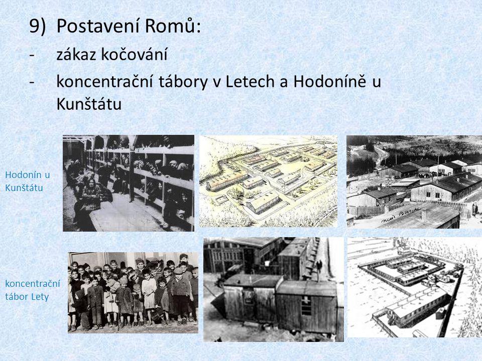 9)Postavení Romů: -zákaz kočování -koncentrační tábory v Letech a Hodoníně u Kunštátu Hodonín u Kunštátu koncentrační tábor Lety
