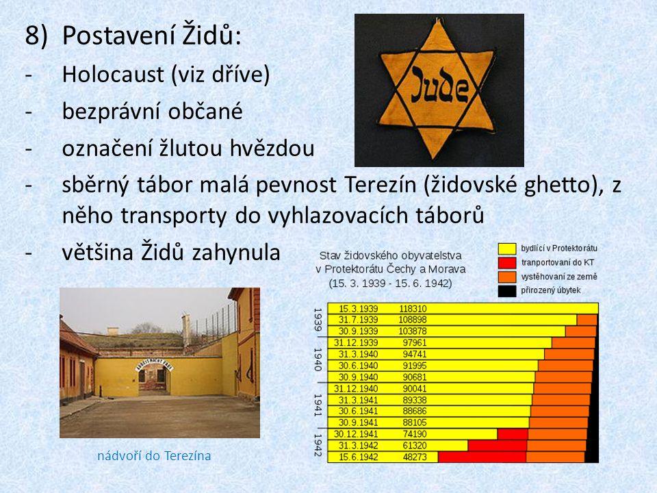 8)Postavení Židů: -Holocaust (viz dříve) -bezprávní občané -označení žlutou hvězdou -sběrný tábor malá pevnost Terezín (židovské ghetto), z něho trans
