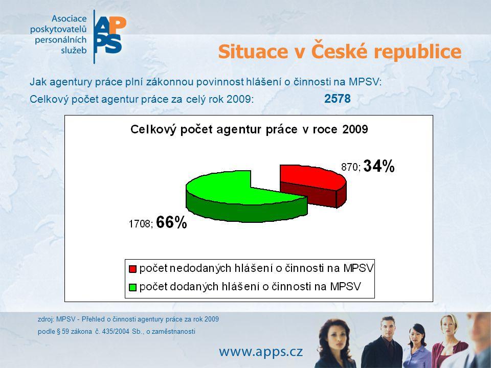 Situace v České republice zdroj: MPSV - Přehled o činnosti agentury práce za rok 2009 podle § 59 zákona č. 435/2004 Sb., o zaměstnanosti Jak agentury