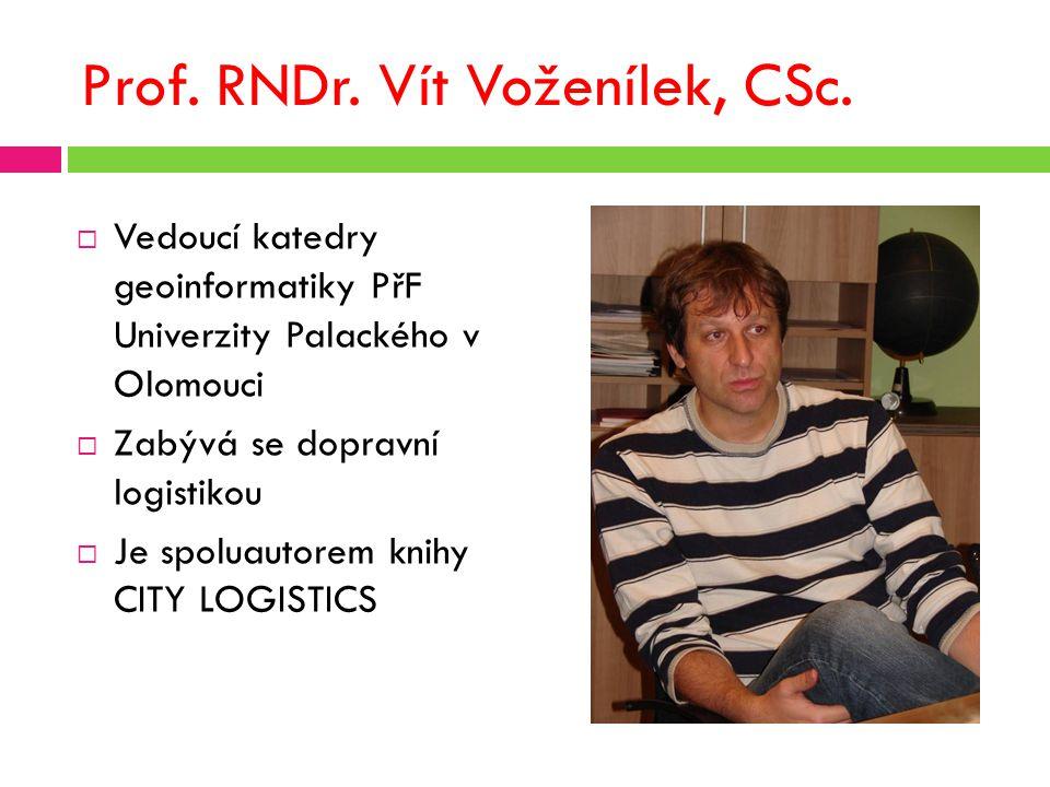 Prof. RNDr. Vít Voženílek, CSc.  Vedoucí katedry geoinformatiky PřF Univerzity Palackého v Olomouci  Zabývá se dopravní logistikou  Je spoluautorem