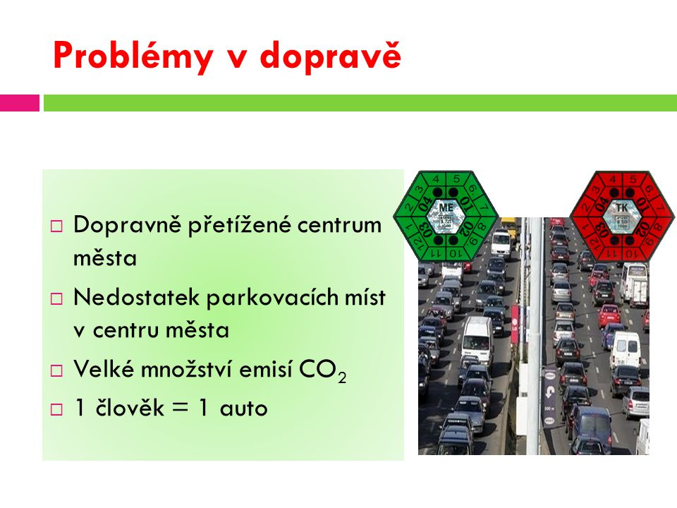 Problémy v dopravě  Dopravně přetížené centrum města  Nedostatek parkovacích míst v centru města  Velké množství emisí CO 2  1 člověk = 1 auto