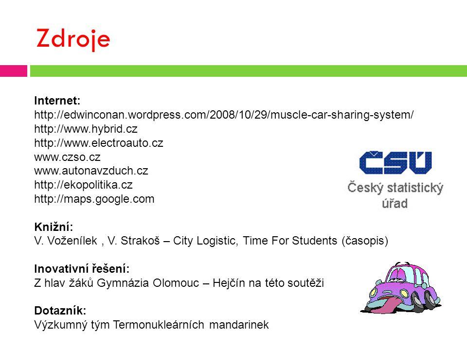 Zdroje Internet: http://edwinconan.wordpress.com/2008/10/29/muscle-car-sharing-system/ http://www.hybrid.cz http://www.electroauto.cz www.czso.cz www.autonavzduch.cz http://ekopolitika.cz http://maps.google.com Knižní: V.