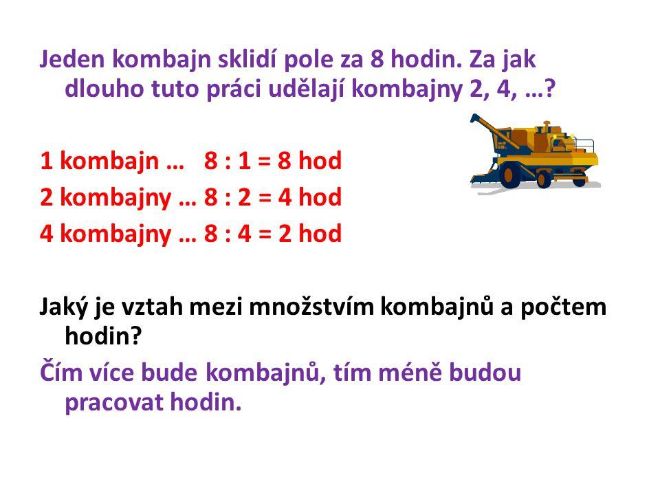 Jeden kombajn sklidí pole za 8 hodin. Za jak dlouho tuto práci udělají kombajny 2, 4, …? 1 kombajn … 8 : 1 = 8 hod 2 kombajny … 8 : 2 = 4 hod 4 kombaj