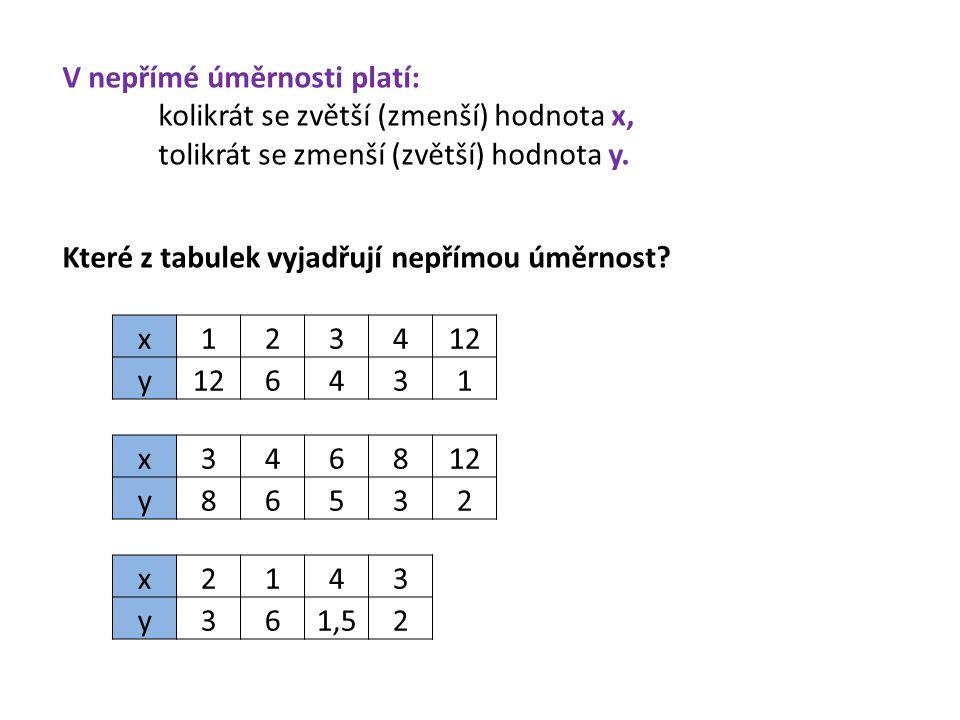 V nepřímé úměrnosti platí: kolikrát se zvětší (zmenší) hodnota x, tolikrát se zmenší (zvětší) hodnota y. Které z tabulek vyjadřují nepřímou úměrnost?