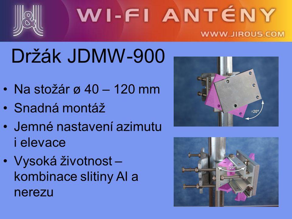 Držák JDMW-900 Na stožár ø 40 – 120 mm Snadná montáž Jemné nastavení azimutu i elevace Vysoká životnost – kombinace slitiny Al a nerezu
