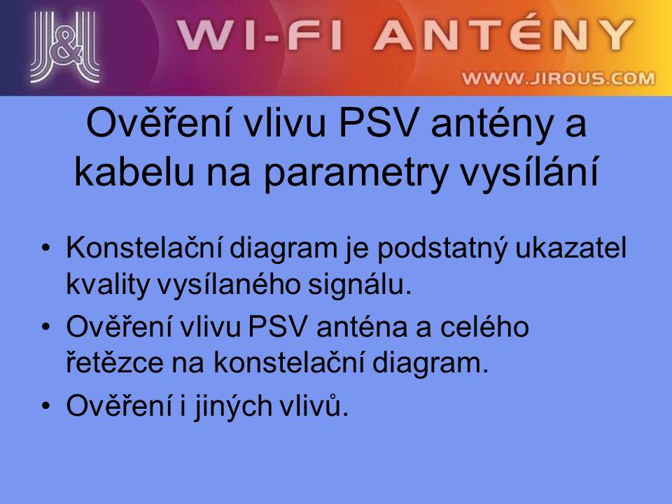 Ověření vlivu PSV antény a kabelu na parametry vysílání Konstelační diagram je podstatný ukazatel kvality vysílaného signálu. Ověření vlivu PSV anténa