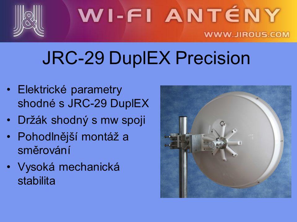 JRC-29 DuplEX Precision Elektrické parametry shodné s JRC-29 DuplEX Držák shodný s mw spoji Pohodlnější montáž a směrování Vysoká mechanická stabilita