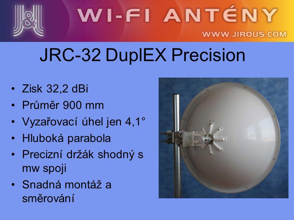 JRC-32 DuplEX Precision Zisk 32,2 dBi Průměr 900 mm Vyzařovací úhel jen 4,1° Hluboká parabola Precizní držák shodný s mw spoji Snadná montáž a směrová