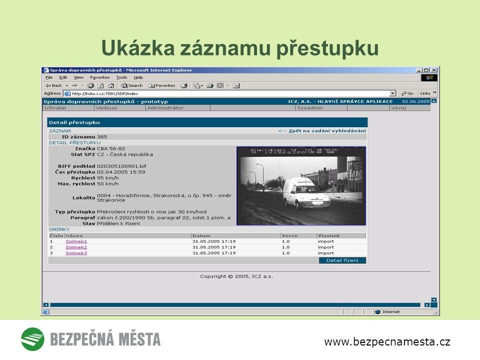 www.bezpecnamesta.cz Ukázka záznamu přestupku