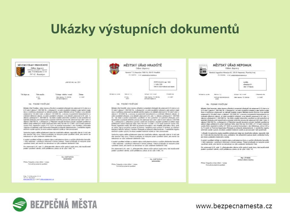 www.bezpecnamesta.cz Ukázky výstupních dokumentů
