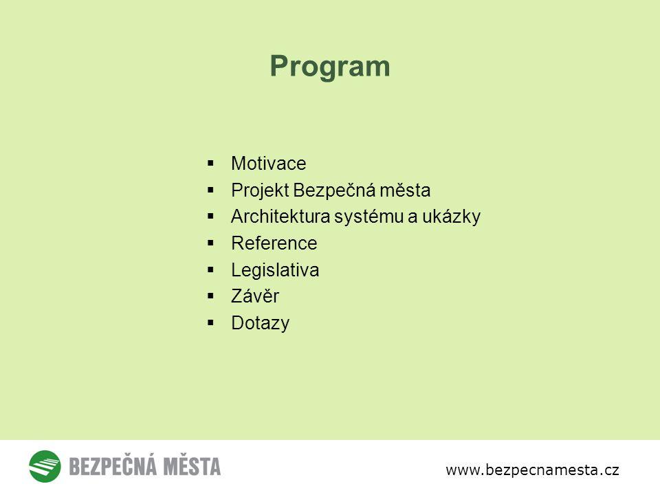 www.bezpecnamesta.cz Program  Motivace  Projekt Bezpečná města  Architektura systému a ukázky  Reference  Legislativa  Závěr  Dotazy
