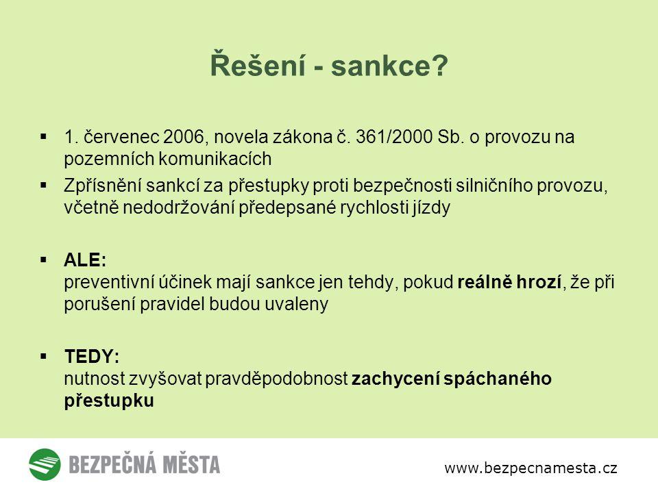 www.bezpecnamesta.cz Řešení - sankce.  1. červenec 2006, novela zákona č.