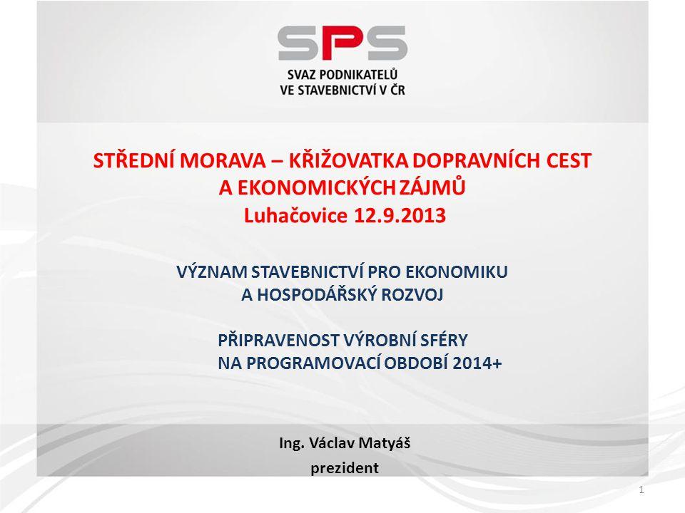 2  patří mezi základní pilíře rozvoje české ekonomiky  významným způsobem ovlivňuje vývoj společnosti i ekonomiku národního hospodářství  vytváří přibližně 8% HDP, zaměstnává 5% práceschopného obyvatelstva, je 3.