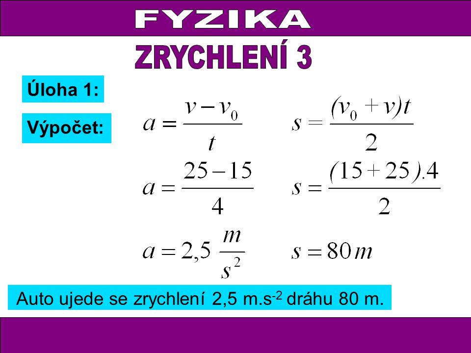 Úloha 1: Výpočet: Auto ujede se zrychlení 2,5 m.s -2 dráhu 80 m.