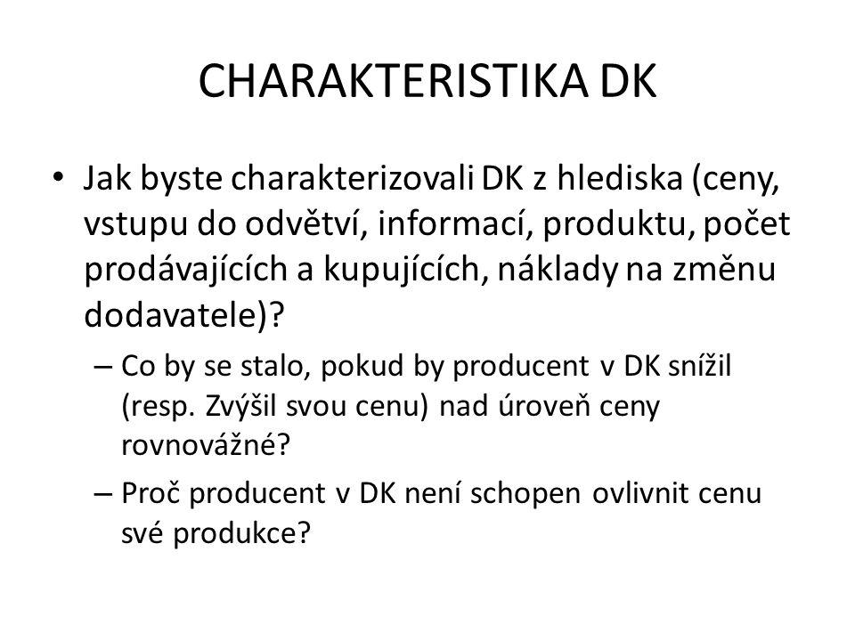 CHARAKTERISTIKA DK Jak byste charakterizovali DK z hlediska (ceny, vstupu do odvětví, informací, produktu, počet prodávajících a kupujících, náklady n
