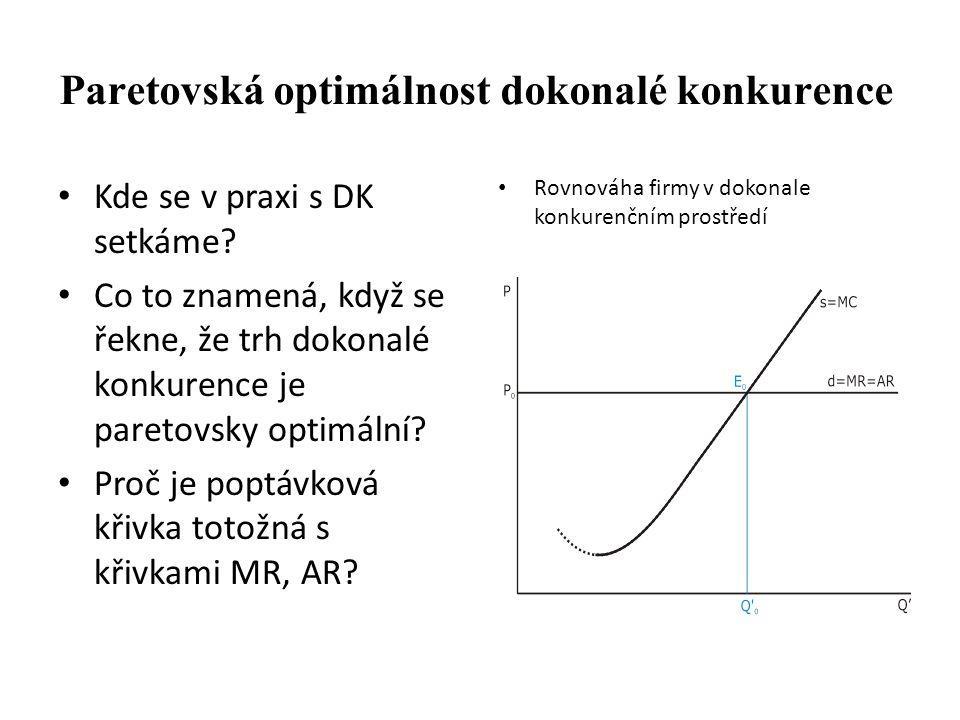 Paretovská optimálnost dokonalé konkurence Kde se v praxi s DK setkáme? Co to znamená, když se řekne, že trh dokonalé konkurence je paretovsky optimál