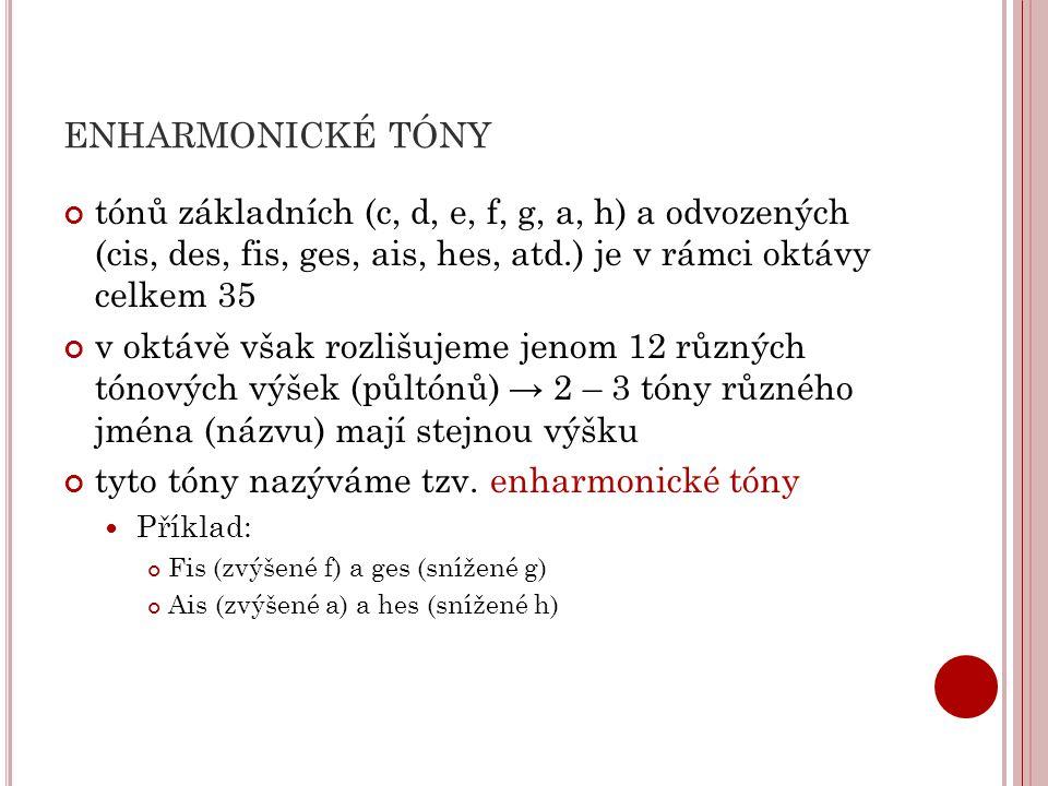 ENHARMONICKÉ TÓNY tónů základních (c, d, e, f, g, a, h) a odvozených (cis, des, fis, ges, ais, hes, atd.) je v rámci oktávy celkem 35 v oktávě však ro