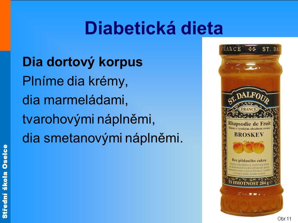 Střední škola Oselce Diabetická dieta Dia dortový korpus Plníme dia krémy, dia marmeládami, tvarohovými náplněmi, dia smetanovými náplněmi. Obr.11