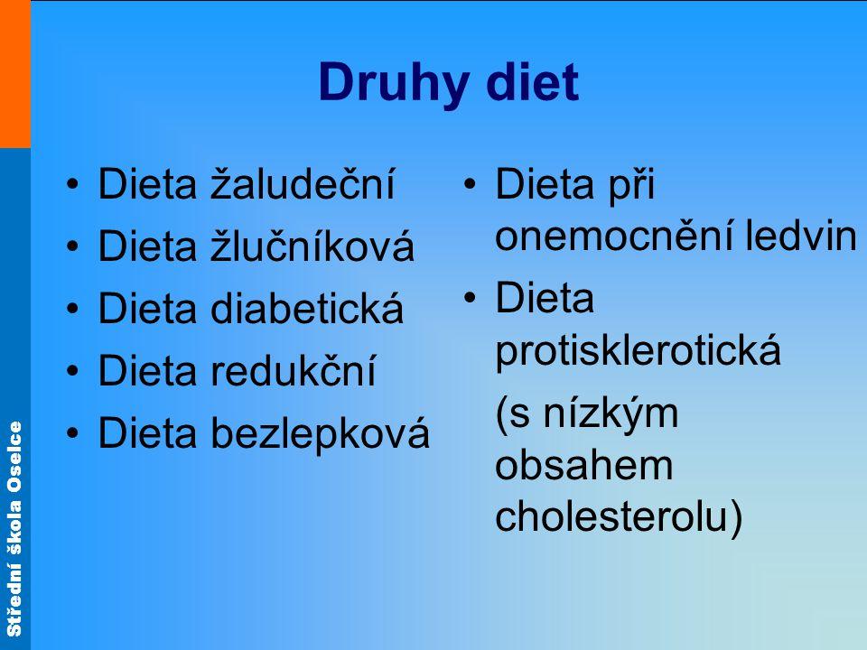 Střední škola Oselce Druhy diet Dieta žaludeční Dieta žlučníková Dieta diabetická Dieta redukční Dieta bezlepková Dieta při onemocnění ledvin Dieta pr