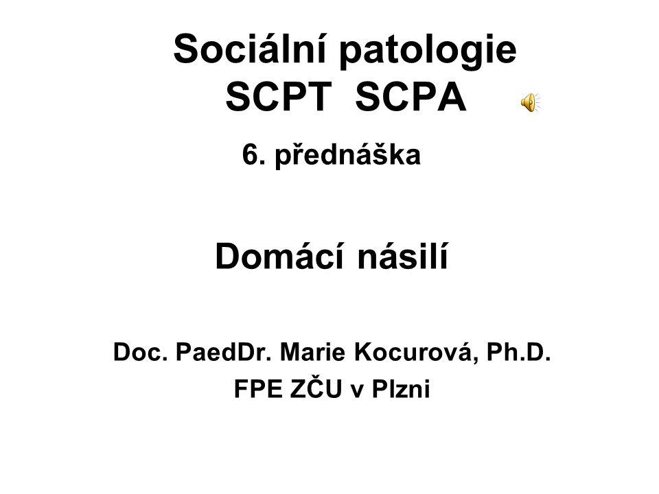 Sociální patologie SCPT SCPA 6. přednáška Domácí násilí Doc. PaedDr. Marie Kocurová, Ph.D. FPE ZČU v Plzni