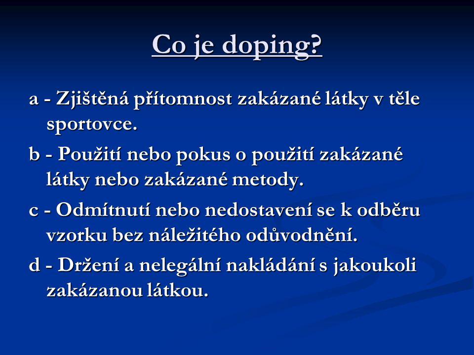 Co je doping? a - Zjištěná přítomnost zakázané látky v těle sportovce. b - Použití nebo pokus o použití zakázané látky nebo zakázané metody. c - Odmít