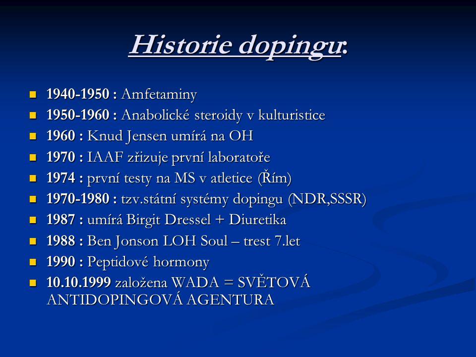 Historie dopingu: 1940-1950 : Amfetaminy 1940-1950 : Amfetaminy 1950-1960 : Anabolické steroidy v kulturistice 1950-1960 : Anabolické steroidy v kultu