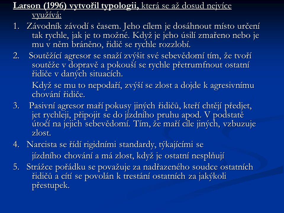 Larson (1996) vytvořil typologii, která se až dosud nejvíce využívá: 1.