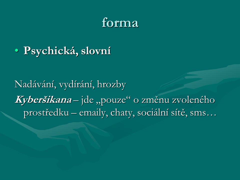 """forma Psychická, slovní Nadávání, vydírání, hrozby Kyberšikana – jde """"pouze o změnu zvoleného prostředku – emaily, chaty, sociální sítě, sms…"""