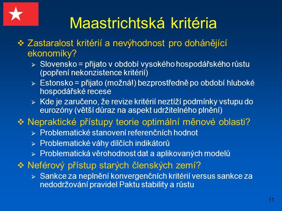 11 Maastrichtská kritéria  Zastaralost kritérií a nevýhodnost pro dohánějící ekonomiky?  Slovensko = přijato v období vysokého hospodářského růstu (