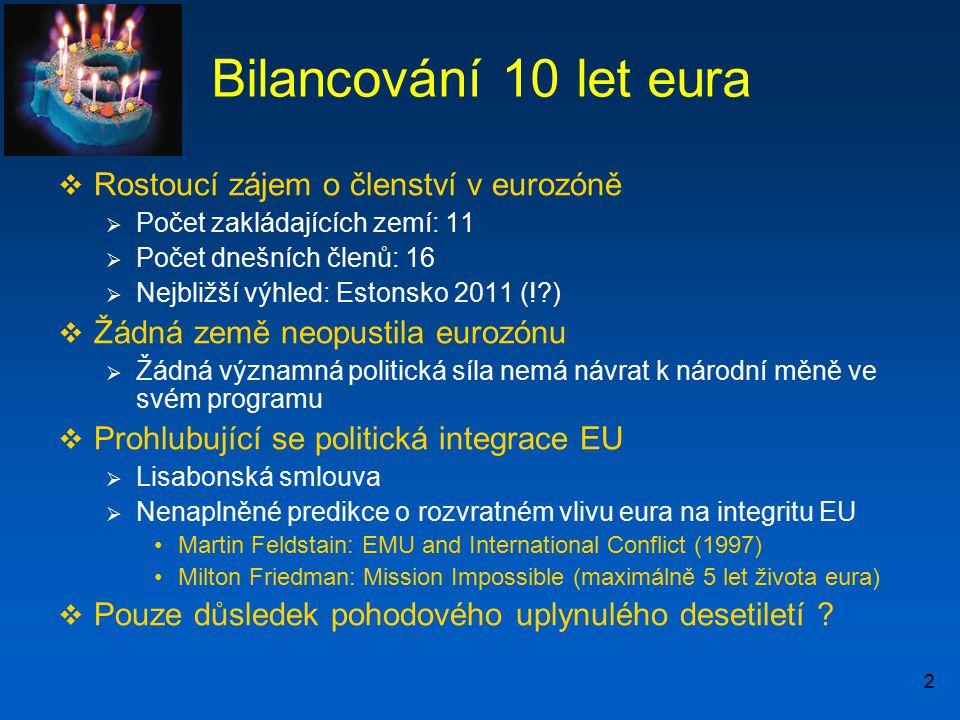 2 Bilancování 10 let eura  Rostoucí zájem o členství v eurozóně  Počet zakládajících zemí: 11  Počet dnešních členů: 16  Nejbližší výhled: Estonsk